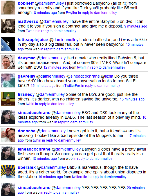 Twitter replies on Babylon5