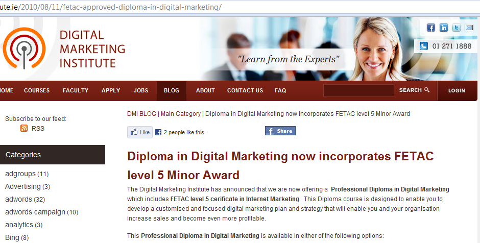 Digital Marketing Institute FETAC update